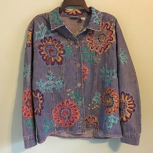 Chico's Embroidered Denim Beaded Jacket Jean 2 12